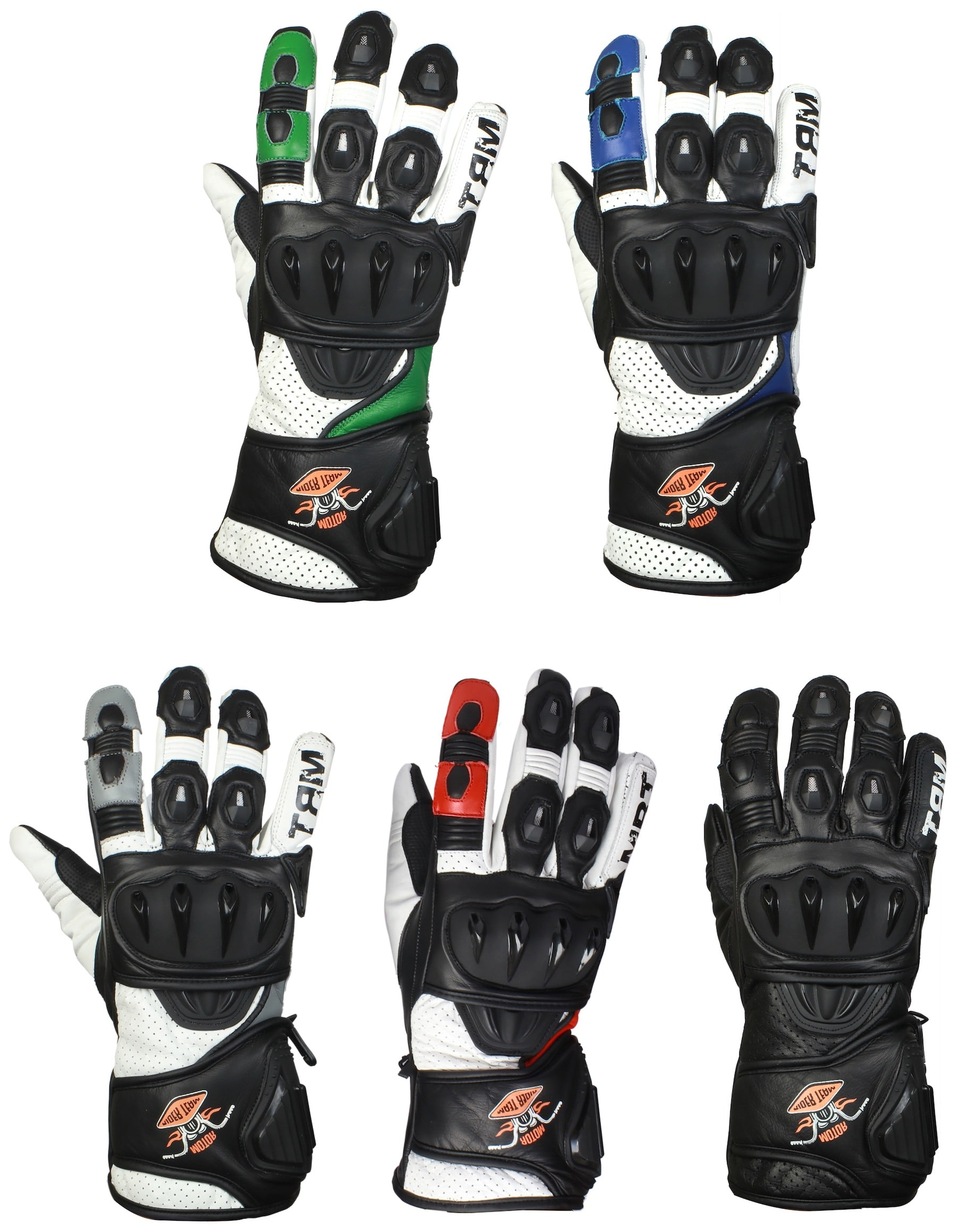 ed455acfc475a MRT Premium Leather Motorcycle Gloves - STORM - The Rider Team