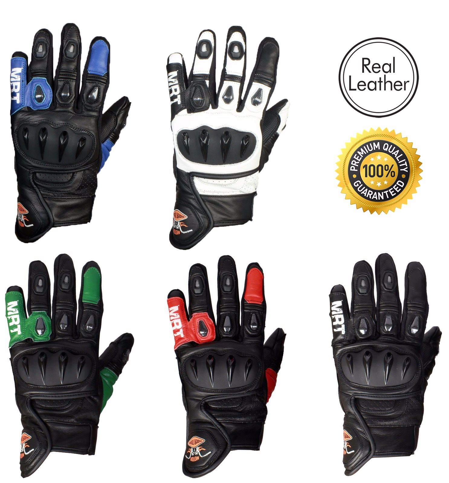 a19ff6184b15f MRT Premium Leather Motorcycle Gloves - LIGHTNING - The Rider Team